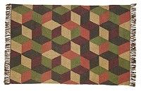 Our Calistoga Rectangle Kilim Rug 4x6' is a 50/50 blend of jute and wool.  This rug is very durable and its design is a green, tan, maroon, navy, and burgundy rectangles.  It also has tassled ends and would look great in any room in your home.  http://www.primitivestarquiltshop.com/Calistoga-Rectangle-Kilim-Rug-4x6_p_6675.html