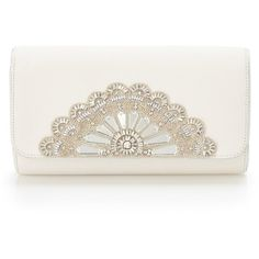 Cinderella Opera Clutch ($640) ❤ liked on Polyvore featuring bags, handbags, clutches, white bridal purse, bride purse, white handbags, bridal handbags and white clutches