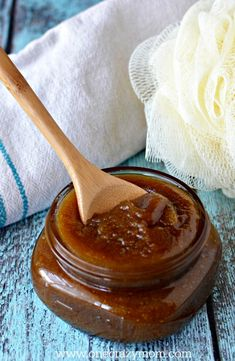 Try this brown sugar exfoliating body scrub today. It is perfect for dry skin! This DIY body scrub is quick and easy and much cheaper than store bought.