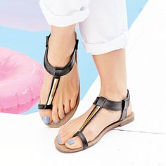 Mirrored T-Strap Toe Loop Sandal | these are cute. I don't think I would like the toe loop, though.