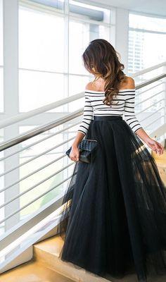 Off The Shoulder Stripe Top And Black Skirt – VIVIMARKS