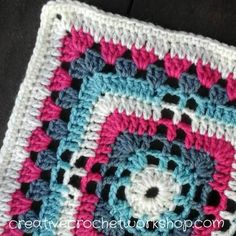 "Crochet A Block Afghan 2017 Block #9: Lacy Granny Cross Square 9"" - free pattern at Creative Crochet Workshop."