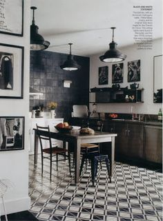 The Steampunk Home • Cement Tiles make a Black and White Kitchen