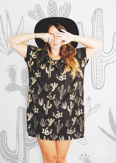Golden Cactus - Big Tee tunic top - hand printed tshirt - by Simka Sol by SimkaSol on Etsy https://www.etsy.com/listing/204734572/golden-cactus-big-tee-tunic-top-hand