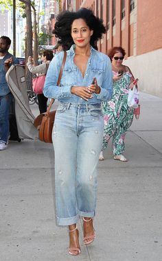 Tracee Ellis Ross from The Big Picture: Today's Hot Pics  Denim days! The Blackish star rocks her Canadian tuxedo in NYC.