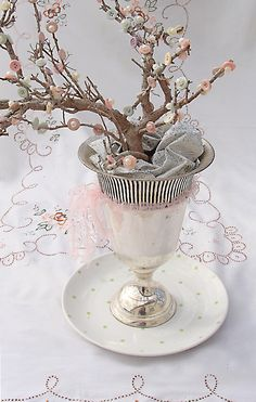 #PinItTransformIt - Buttons & pearls cherry blossom tree centerpiece would give an elegant to a pretty white table.