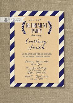 Kraft Retirement Party Invitation Whimsical Script Navy & Off White Striped Modern Retire Bon Voyage Printable or Printed - Courtney Style Retirement Invitation Template, Retirement Party Invitations, Shower Invitations, 21st Invitations, Invitation Ideas, Invitation Templates, Retirement Celebration, Retirement Parties, Retirement Ideas