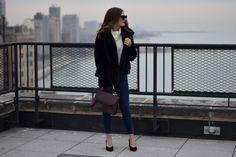 black faux fur coat   Out & About