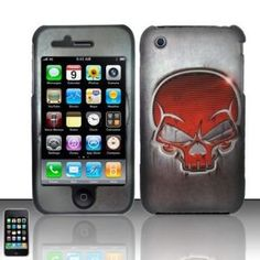 """Apple iPhone 3g 3gs Silver Gray Red Skull Premium Design Snap-On Premium Phone Protector Hard Cover Case + Bonus 5.5"""" Winter Green Phone Cleaning Cloth (Wireless Phone Accessory)"""