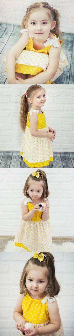 White - yellow dress from cotton fabric. Dress cut above the waist, gift idea for girls, kid's fashion - a unique product via en.dawanda.com