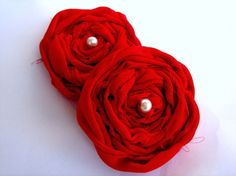 Supplies Set of two Chiffon red ruby frayed by rosesupplies, $8.00