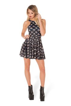Eye See You Reversible Skater Dress (WW 48HR $85AUD / US - LIMITED $80USD) by Black Milk Clothing