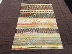 "Turkish Kilim Rug.Area Rug.6""x8,2"" Feet 183x250 Cm Flat Weave Woven Stripe Pattern Anatolian Kilim Rug,Embroidered Ethnic Tribal Kilim Rug."