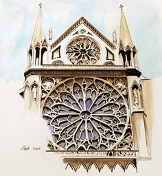 """Notre Dame"" Original Watercolor is a watercolor, pen and ink architecture painting of Notre Dame Cathedral in Paris France by Esther BeLer Wodrich Interior Architecture Drawing, Cathedral Architecture, Watercolor Architecture, France Drawing, Building Drawing, Pen And Watercolor, Urban Sketching, Ink Art, Art Work"