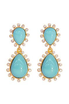 Kenneth Jay Lane Crystallized Aqua Drops - Check out these aqua earrings with your next rental! They're only $20 and oh so cute!