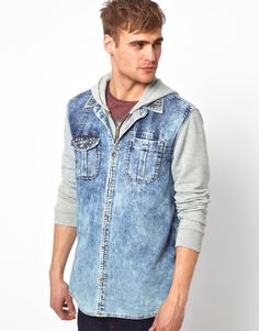 River Island Overshirt with Jersey Sleeves