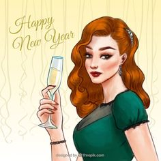 Vintage woman new year background Free Vector