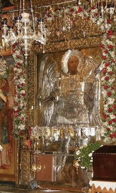 Pray Always, Archangel Michael, Greek Islands, Cherub, Deities, Catholic, Mosaic, Christmas Tree, Faith