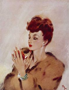An elegantly beautiful work of art by David Wright showing a redhead lady touching up her lipstick. 1940s Woman, New Look Fashion, Pop Art Illustration, Mirror Art, Woman Drawing, Vintage Glamour, Vintage Beauty, 1940s Fashion, Women's Fashion