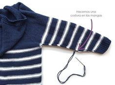 Chaqueta de punto marinera DIY - Tutorial y patrón Baby Knitting, Crochet Baby, Knit Crochet, Knit Vest, Crochet Cardigan, Loom Knitting Projects, Baby Kind, Baby Sweaters, Baby Dress