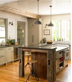 Paint cabinets  Lake house kitchen - Craig Kettles designer - Gridley Graves photography Country Living