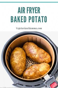 Air Fryer Baked Potato - delicious and crispy - Cooking Recipes Air Fryer Recipes Appetizers, Air Fryer Recipes Breakfast, Air Fryer Oven Recipes, Air Frier Recipes, Air Fryer Dinner Recipes, Air Fryer Recipes Gluten Free, Air Fryer Recipes Potatoes, Power Air Fryer Recipes, Air Fry Potatoes