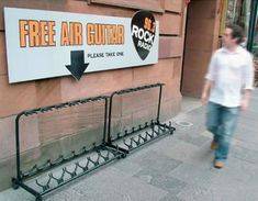 In a hilarious bit of guerilla marketing, radio station Rock 96.3 in Glasgow, Scotland set up an empty guitar rack with a sign above it reading 'Free Air Guitar – Please Take One.'
