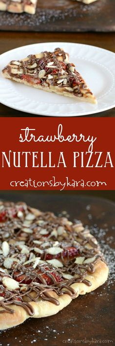 Topped with strawberries, bananas, almonds, and Nutella, this Strawberry Nutella Pizza is simply scrumptious! Nutella Pizza, Nutella Snacks, Nutella Recipes, Snack Recipes, Dessert Recipes, Flour Recipes, Easy Recipes, Vegetarian Recipes, Just Desserts
