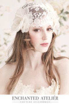 {Dauphine French Lace Cap w/Flowers}  -Credits: Emme Wynn-Photography, Liz Wegrzyn-MUA, Aleksandra Ulanowicz-Hair, Rachel MacKay-Model, Headpiece by Enchanted Atelier-