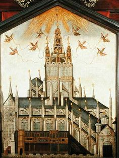 Image of the old St Paul's Cathedral in the City of London which was destroyed in the great fire. It was a London landmark Anne Boleyn would have seen regularly. She paused outside during her coronation procession when she watched a tableau vivant.