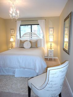 white guest bedroom ideas | Bedroom, Romantic White Relaxing Guest Bedroom Decorating Ideas With ...