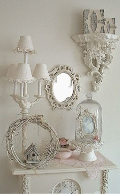 Romantique Inspirations shabby chic white with a hint of pink vignette