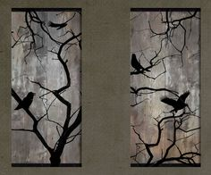 This is a set of rustic-style pieces that portray birds settling on a bare tree. There are two pieces to the set, with the scene stretching across