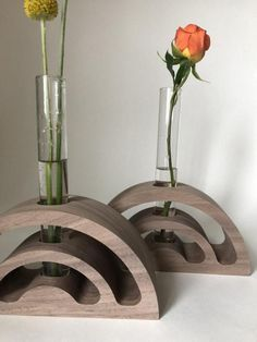 Arcs Wood and glass bud vase and candle holder in Modern Coasters, Wood Coasters, Wood Vase, Metal Vase, Wooden Projects, Wooden Crafts, Candlestick Holders, Candlesticks, Wood Magazine