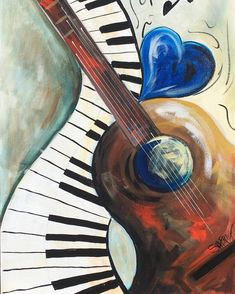 Heart and Soul Abstract musical painting lesson fo Guitar Painting, Music Painting, Guitar Art, Painting & Drawing, Heart Painting, Acrylic Painting Canvas, Acrylic Art, Canvas Art, Painting Abstract