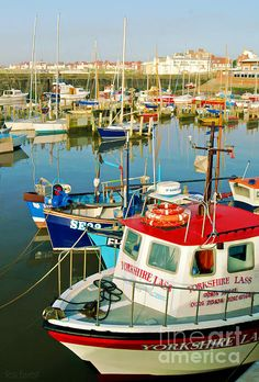 Boats lie at rest in the harbour at Bridlington, Yorkshire, early one summer's morning, with 'Yorkshire Lass' in the foreground. Large Art Prints, East Yorkshire, Northern England, Remo, One Summer, Seaside Towns, Cumbria, Leeds, The World's Greatest