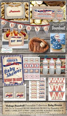 Vintage Baseball Baby Shower Collection INSTANT by Sassaby