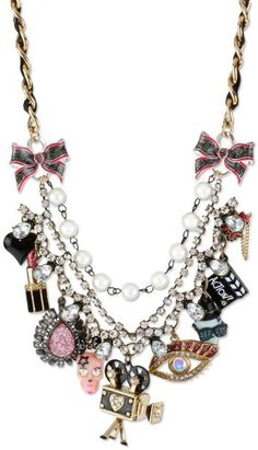 betsey johnson necklace | Betsey Johnson Goldtone Glass Accent Multicharm Frontal Necklace in ...