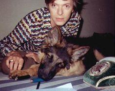 soundsof71:  Diamond Dogs! David Bowie with his German Shepherd in Berlin