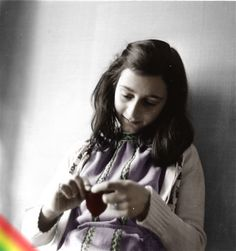 """Annelies 'Anne' Marie Frank, knitting, sometime in 1941. Black/white photo, colored...in photoshop."""