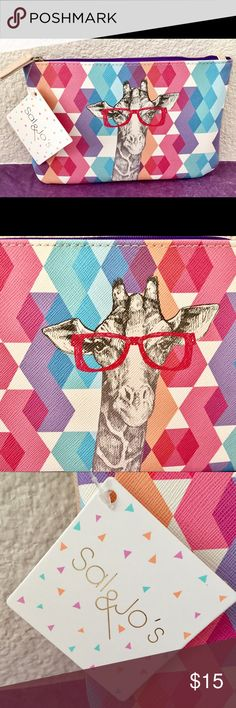 """Sal & Jo's Giraffe Glasses Zippered Cosmetics Bag This super-cute, trendy bag is great for stashing your makeup, pens/pencils, keys, cell phone, money, etc. Made with Saffiano faux leather for a luxe look and feel. It has a purple lining. You can also use it as a fashionable clutch to hold all of your necessities on the go. Approximately 7.9"""" x 5.3"""".  New with tags; unused. Smoke-free, clean home. Bundle to save! Sal & Jo's Bags Cosmetic Bags & Cases"""