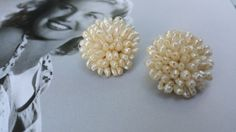 Vintage 1950s Round Seed Pearl Cluster Clip On by VintageGoodsToGo