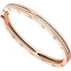 BVLGARI B.zero1 18kt pink-gold and pavé diamond bangle bracelet ($12,935) ❤ liked on Polyvore featuring jewelry, bracelets, pave diamond bangle bracelet, bracelets bangle, bulgari jewelry, rose gold bangle bracelet and rose gold bangle