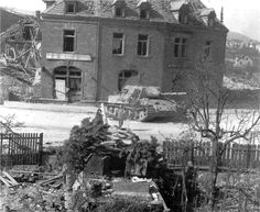German Jagdtiger, March 1945.  Both the Jagdtiger 3. Kompanie/653. schwere Panzerjäger-Abteilung knocked out in Neustadt-an-der-Weinstraße in March 1945. The unit still will award 25 enemy tanks on March 22 in this area, before retreating behind the Rhine.