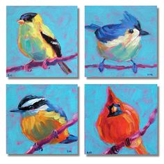 Bird Art Grouping Original Paintings by betsymclellanstudio, $55.00
