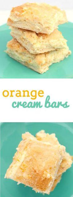 This Orange Cream Cheese Bars Baking Recipes, Cookie Recipes, Dessert Recipes, Bar Recipes, Just Desserts, Delicious Desserts, Yummy Food, Cream Cheese Bars, How Sweet Eats