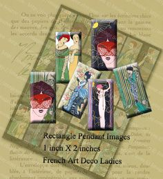 Paris Ladies Fashion, printable digital collage sheet, domino art pendant images in one inch by two inch rectangles delivered to you in a printable jpeg file, sized perfectly for use on dominoes, soldered frames and other rectangular pendant blanks. Cropped and altered vintage illustrations from French Art Deco era fashion magazines.  Be sure to browse all of my pendant images located here: https://www.etsy.com/shop/ImageSource?ref=hdr_shop_menu&section_id=14...
