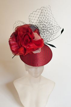 Red Grid FASCINATOR with BIRDCAGE VEIL and Silk Flower Wedding