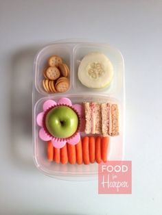 Flower Apple bento lunch in an @easylunchboxes container #foodforharper