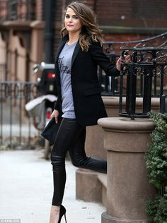 Show shirt: The Americans star wore a grey Late Night With Seth Meyers show T-shirt to the...